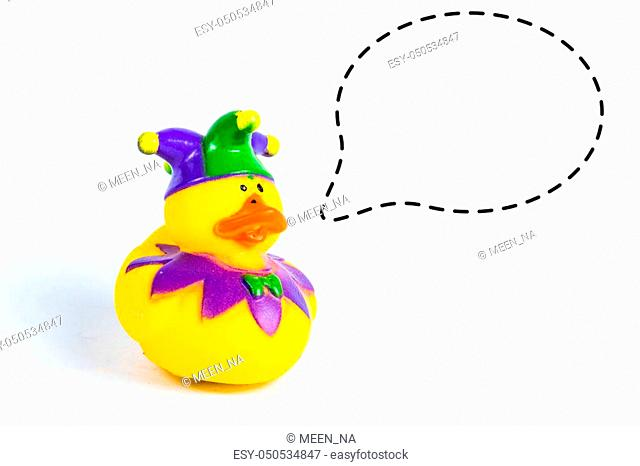 bath duck with with callout symbol on white background, duck toy, Cute yellow rubber duck