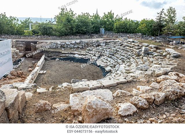 With blue sky,High resolution panoramic view of Amphitheatre at Olba Ancient city located in Uzuncaburc,Silifke,Mersin,Turkey