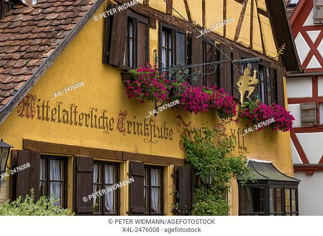 Half-timbered houses in the historic city, Rothenburg ob der Tauber, Bavaria, Germany, Europe