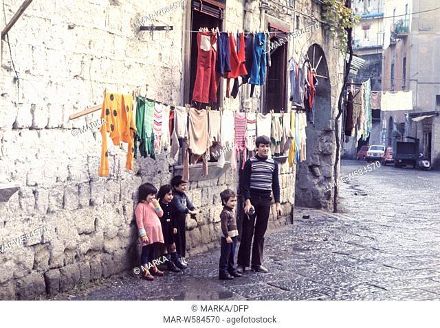 italy, campania, naples, children, 70's