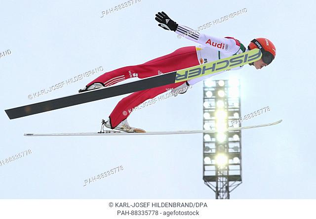 The nordic skiing combined athlete Eric Frenzel from Germany during a training session on the normal ski jump at the Nordic Skiing World Championships in Lahti