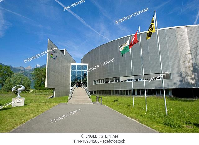 Switzerland, Europe, Vaud, Aigle, Olympic, training, centre, flag, bicycle, wheel, bicycle, bicycle, bike, building, construction, canton
