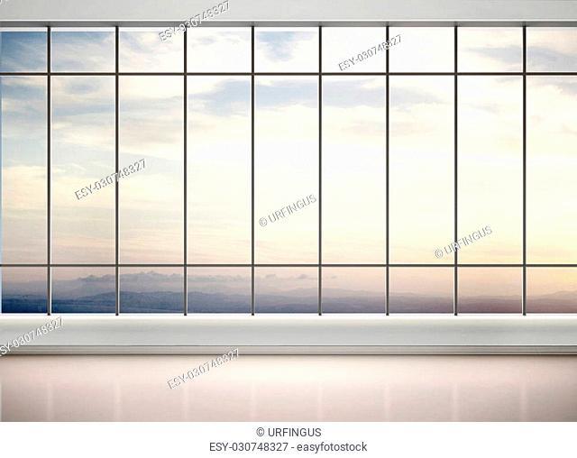3d illustration of empty office with large windows