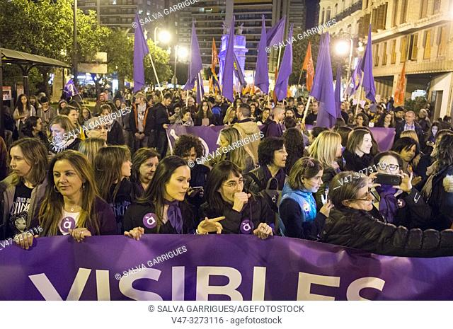 Valencia, Spain, March 8, 2019. The streets of Valencia are filled with people shouting in favor of feminism and encountering machista aggressions