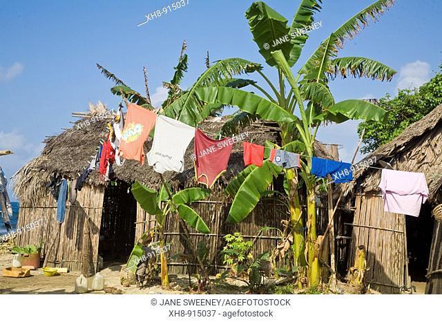 Thatched house, Naranjo Chico island, San Blas Islands, Kuna Yala, Panama