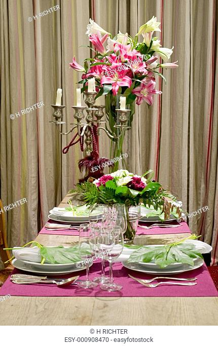 Luxuriously covered dining table