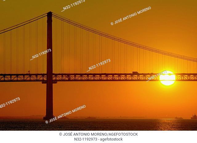 Lisbon, 25th Abril bridge at dawn, River tagus, Tejo River, Portugal, Europe