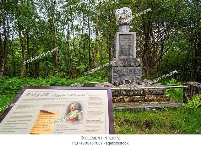 Monument where James of the Glen / James Stewart was hanged in 1752 at Ballachulish, Lochaber, Scottish Highlands, Scotland