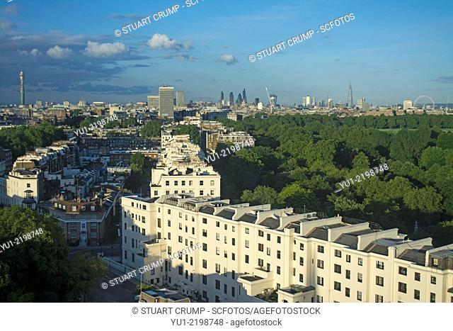 View over Central London, BT Tower, The Shard,London Eye and Hyde Park from the 17th floor of the Lancaster London Hotel