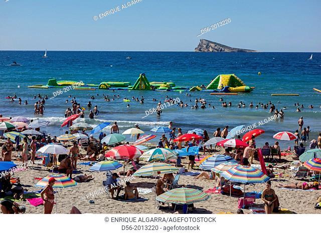 Poniente beach and the island, Benidorm, Alicante province. Spain
