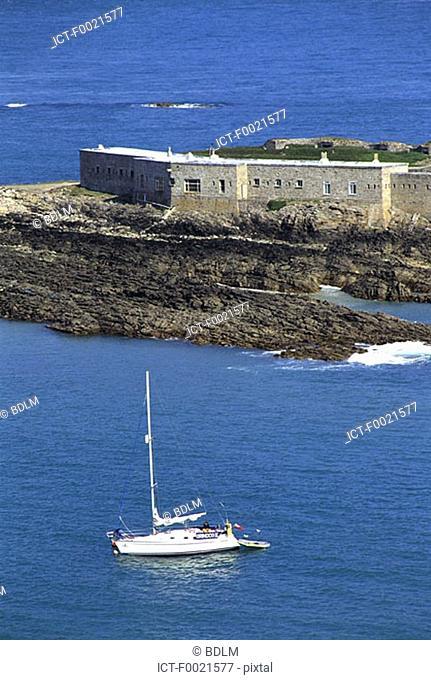 Channel Islands, Alderney, Braye Bay, Fort Albert and the Arsenal building