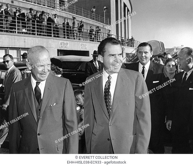 President Eisenhower seeing Richard Nixon off at National Airport. He attended a Republican Kick-off breakfast for VP Nixon
