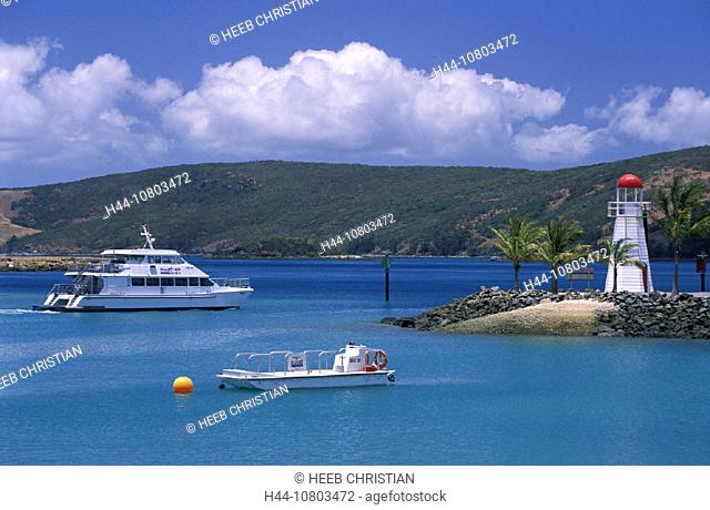 Australia, Hamilton Island, Queensland, Whitsunday Islands, ship, lighthouse, boats, coast, island, sea