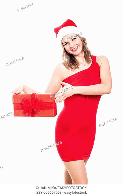 Happy Christmas woman holding present, isolated on white background