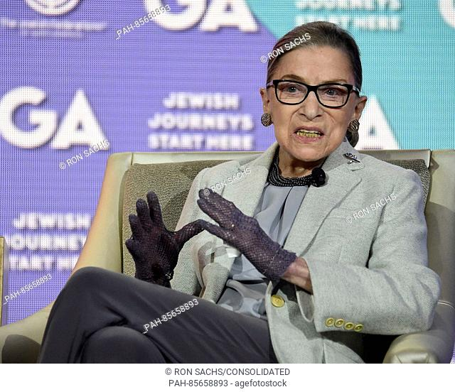 Associate Justice of the United States Supreme Court Ruth Bader Ginsburg appears at the General Assembly of the Jewish Federations of North America on Monday