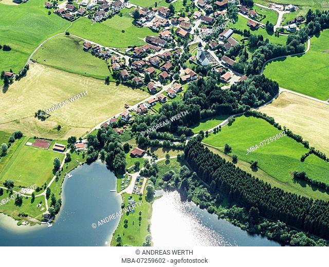 Village Petersthl at Lake Rottachsee, aerial view, Allgäu, Bavaria, Germany