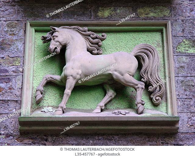 Emblem 'Schloss Stolzenfels'. Rhine River , Rhineland-Palatinate , Germany
