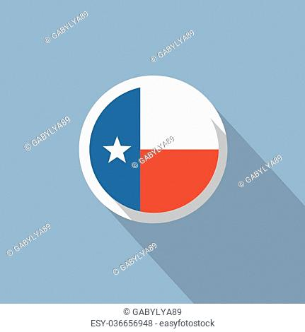 Texas State Flag on a blue background. Flat style