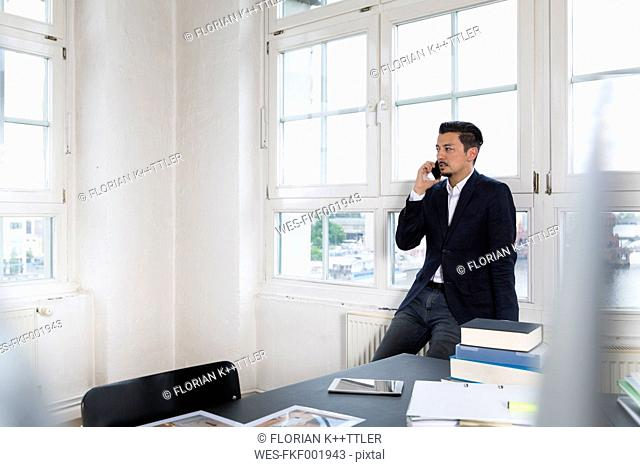 Businessman making phone call in his office