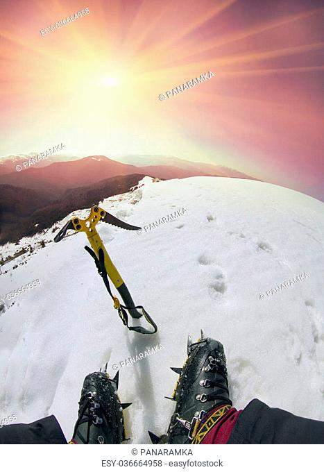Outdoor activities winter air on the tops of mountain is a healthy way of life and passion for the brave people that requires experience and knowledge to...