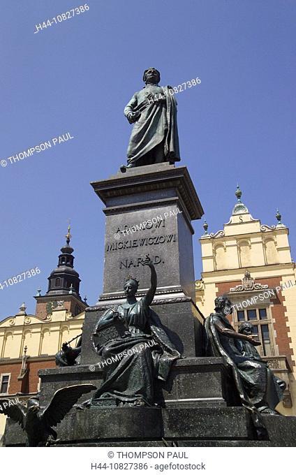 statue, poet, Adam Mickiewicz, Adam, Mickiewicz, Cloth Hall, the, cloth, hall, Sukiennice, Market Square, market, squa
