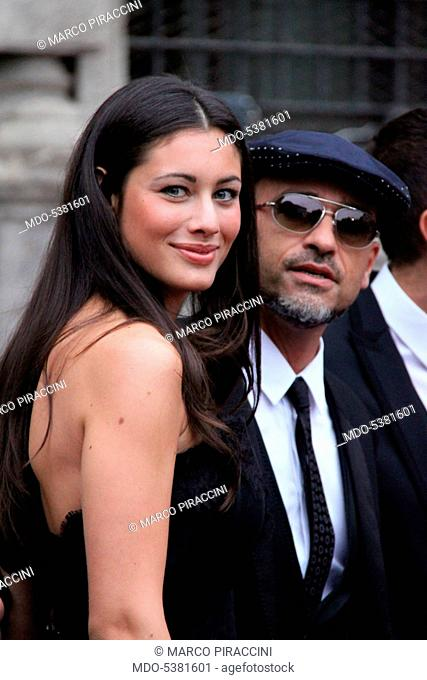 The singer-songwriter Eros Ramazzotti and his partner and model Marica Pellegrinelli attending the party held by Dolce & Gabbana. Milan, Italy
