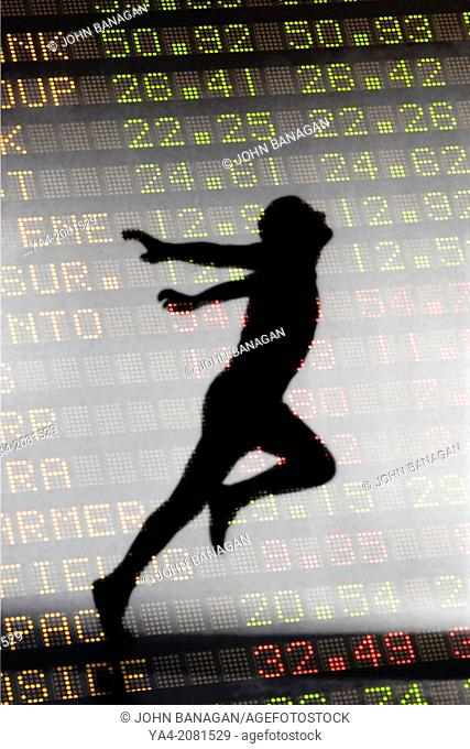 Stock Exchange, figures, superimposed on a man winning a race