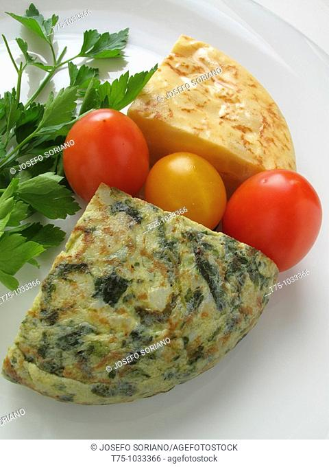 Potatoes and spinach omelette