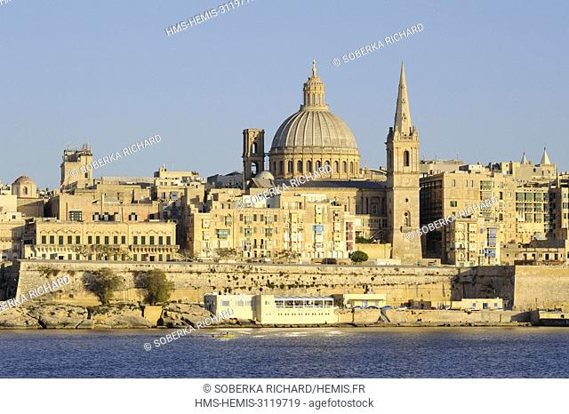 Malta, Valletta listed as World Heritage by UNESCO, view of the city from Sliema, dome of the Carmelite church and bell tower of the Church of St