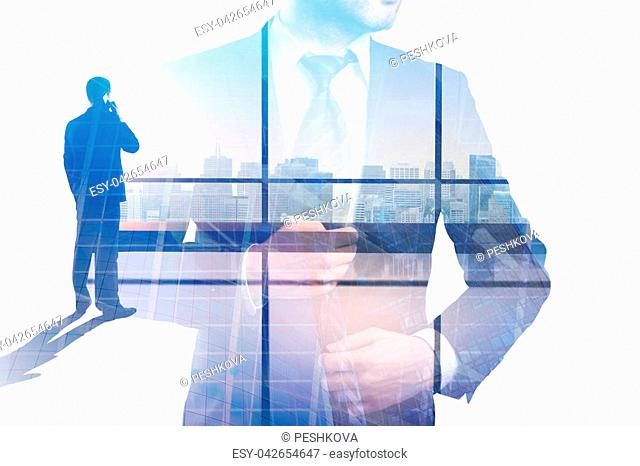 Businessman in abstract office with city view. Success and executive concept. Double exposure