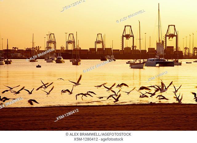 Puerto de La Luz at sunrise taken from Alcaraveneras beach