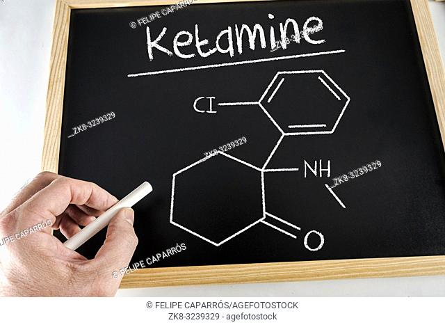 Conceptual diagram drawn with chalk on a Blackboard of the ketamine, education concept