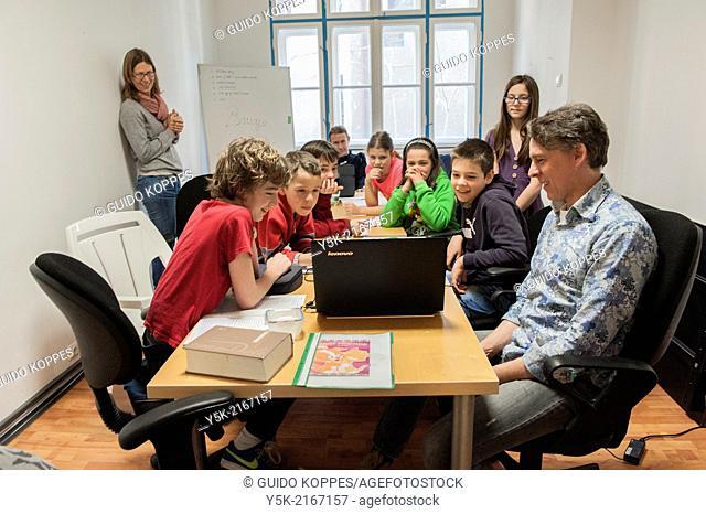 Ulitsa Gladstone, Sofia, Bulgaria. Dutch and Flemish children in Bulgaria, who normally visit regular Bulgarian, or even international schools