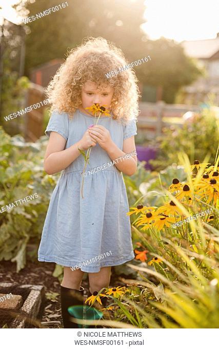 Little girl smelling flowers in the garden