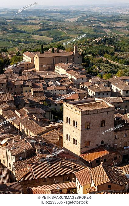 San Gimignano with Chiesa di Sant'Agostino, Church of St Augustine, as seen from Torre Grossa tower, Toscana, Tuscany, Italy, Europe