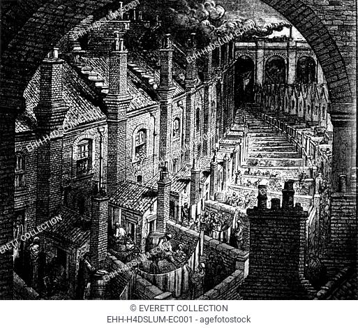 Slums of London, engraving by Gustave Dore, circa. 1850
