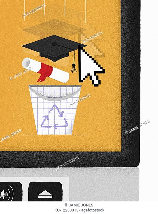 Computer cursor dragging mortarboard and diploma to recycling bin