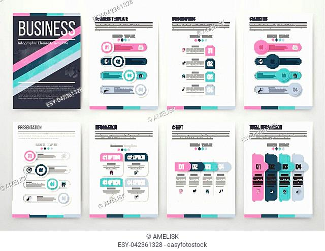 Infographic vector set. Business graphics brochures a4