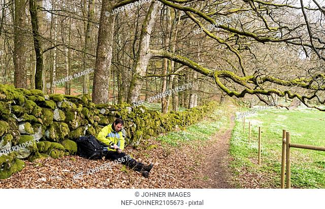 Hiker relaxing