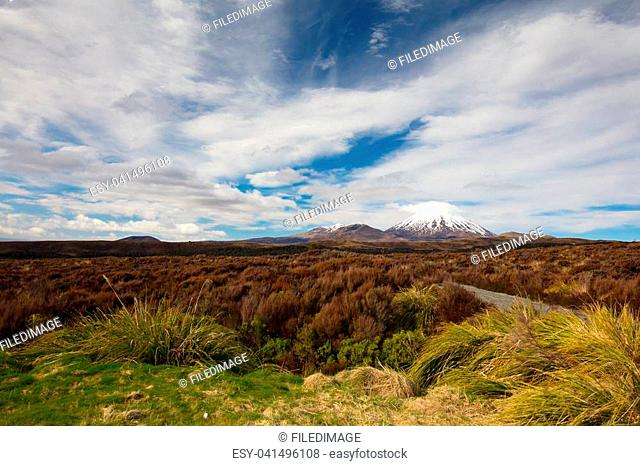 The famous landscape of Tongariro National Park around Mt Ngauruhoe on a cold clear winter's day