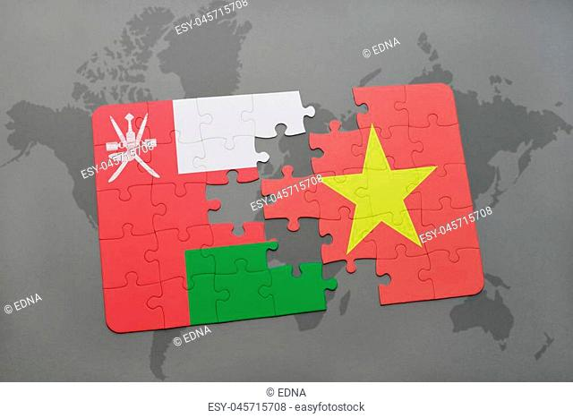puzzle with the national flag of oman and vietnam on a world map background. 3D illustration