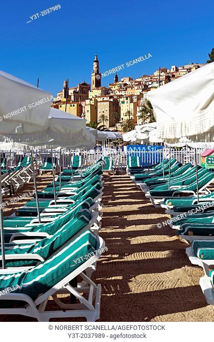 Europe, France, Alpes-Maritimes, Menton. Transat in a private beach