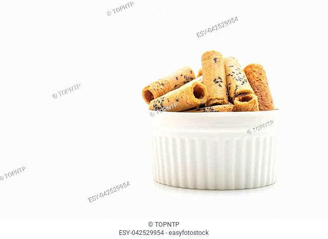 Thai crispy coconut roll isolated on white background