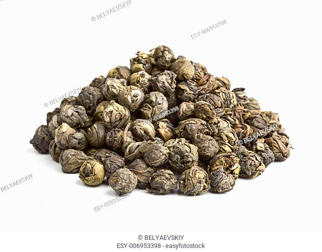 Elite Chinese tea Black Pearl isolated on white background