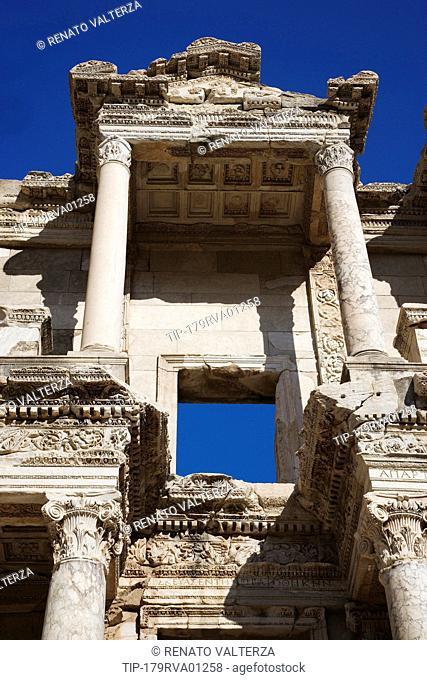 Turkey, Kusadasi, Ephesus, the Library of Celsus, detail