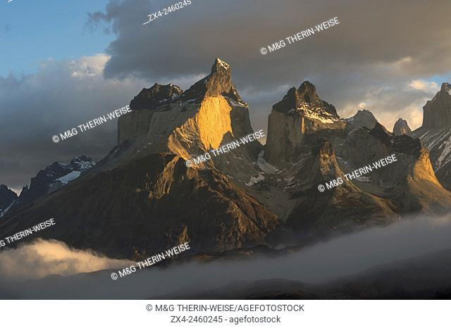 Sunrise over Cuernos del Paine, Torres del Paine National Park, Chilean Patagonia, Chile