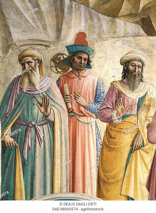 Three men of science, detail from the Adoration of the Magi, 1437-1445, by Giovanni da Fiesole, known as Fra Angelico (ca 1400-1455), fresco