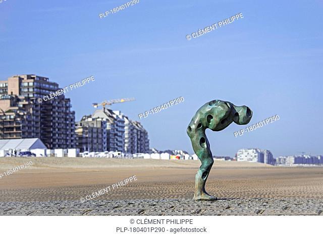 Sculpture Tomorrow Man Made by the Sea by artist Catherine François on groyne along the North Sea coast at Knokke-Heist, West Flanders, Belgium