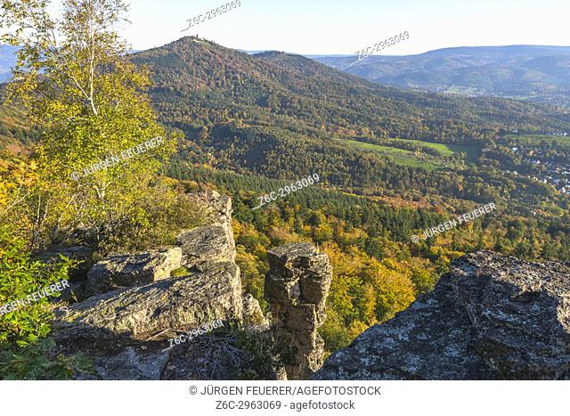 lookout to the mountain Merkur and formations of the Battert rock, natural environment above the spa town Baden-Baden in the autumn light