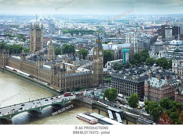 Aerial view of London cityscape, Middlesex, United Kingdom